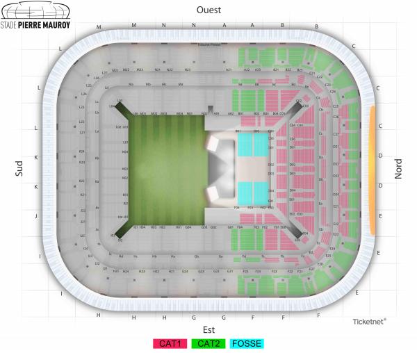 Plan Stade Pierre Mauroy Lille Indochine Concert 2019