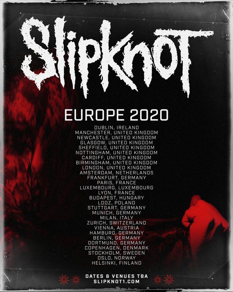 Slipknot annonce des concerts à Paris et à Lyon en 2020 !