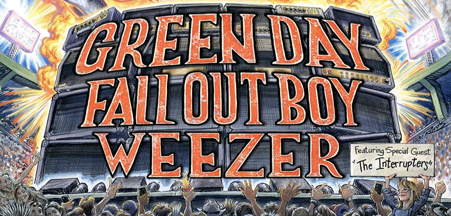C'est officiel : Green Day, Weezer et Fall Out Boy réunis pour le Hella Mega Tour en Europe en 2020 !